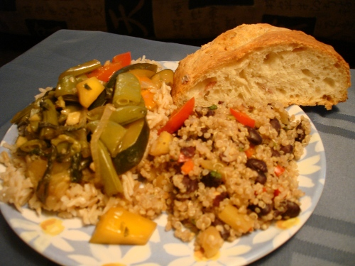 mango quinoa, stir-fry, jasmine rice, and bread