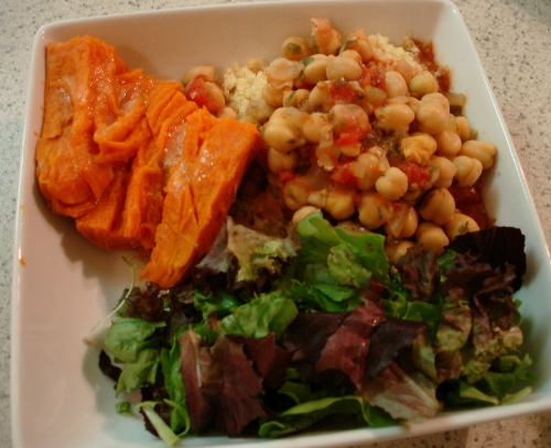 chickpea stew - sweet potato - salad greens