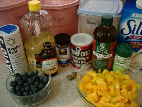 coffee cake and peach coulis ingredients