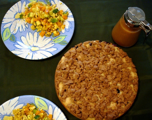 coffee cake, peach coulis, and tofu scramble