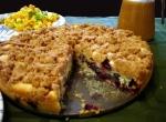 coffee cake, peach coulis, and tofu scramble