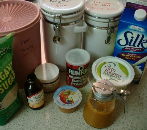 pancake ingredients and peach coulis
