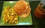 pancakes, peach coulis, and tofu scramble