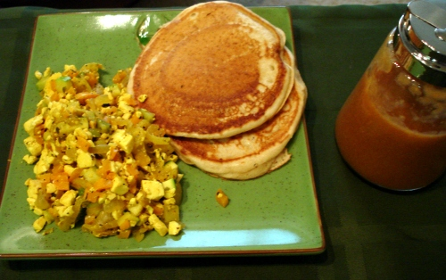 pancakes, peach coulis, and tofu scramble