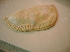 fold over, then crimp dough