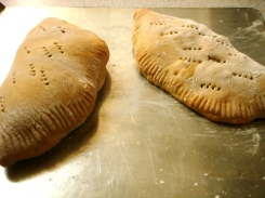 calzone fresh from oven
