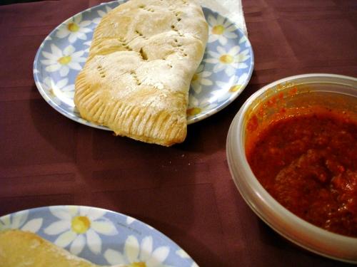 zuchini calzone and red sauce