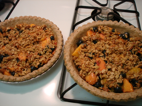 peach, nectarine, blueberry crisp-pies