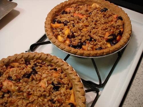 peach, nectarine, blueberry crisp-pies baked