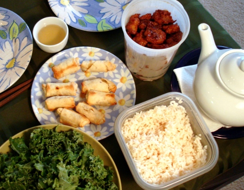 gen. tso vegan chicken, rice, spring rolls, kale, tea