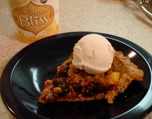 peach, nectarine, blueberry crisp-pie a la mode