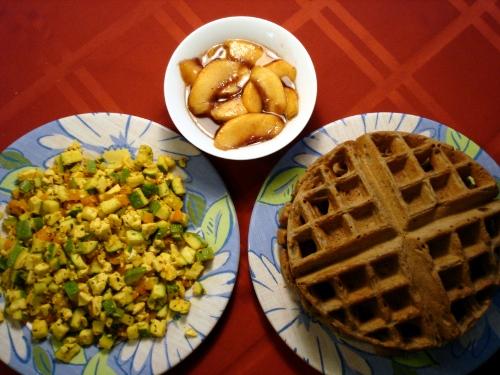 buckwheat waffles, mad scramble, peach syrup