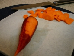 inside a maroon carrot