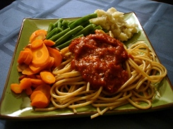 steamed maroon carrots with green beans, mashed potatoes, and spaghetti