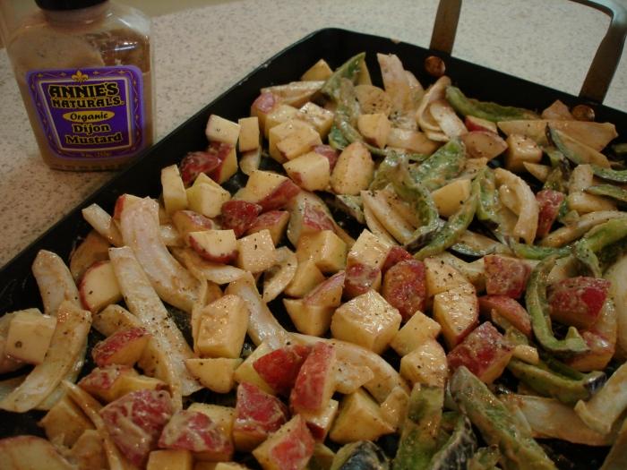 dijon mustard oven-roasted potatoes - before roast