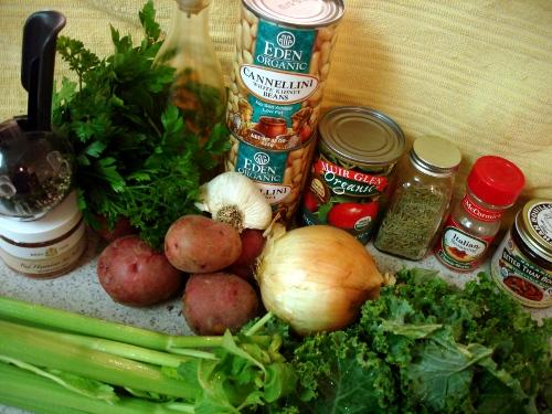 potato kale soup - ingredients