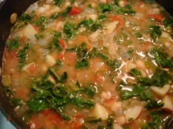 potato kale soup - potatoes not quite finished, but kale is GREEN!