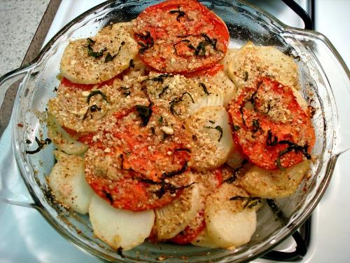 patate e pomodori al forno