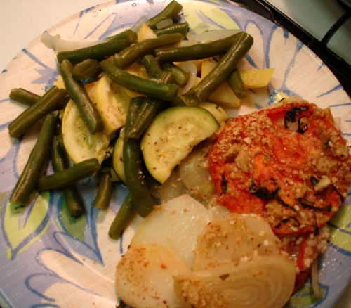 patate e pomodori al forno & steamed veggies