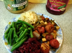 roasted potatoes & veggies, red cabbage, sauerkraut, and green beans