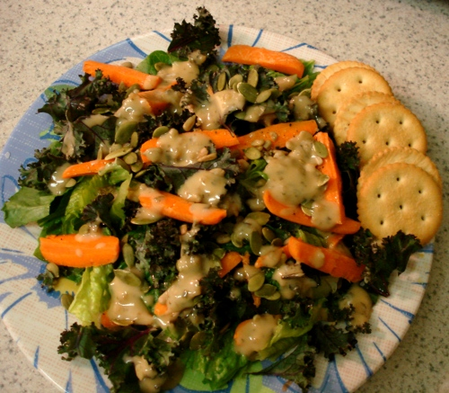 romaine, red kale, carrots, sunflower seeds, pumpkin seeds, organic goddess dressing salad