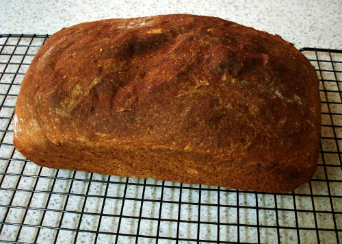 100% whole wheat sandwich bread - cooling on rack