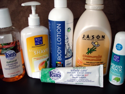 toothpaste and mouthwash, shaving lotion, body lotion, shower gel, deodorant