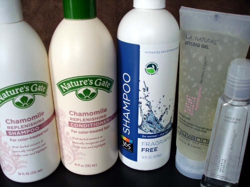 shampoo, conditioner, hair gel, anti-frizz gel