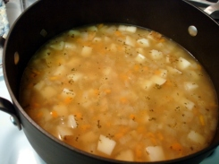 potato and leek (or onion) soup - before blend
