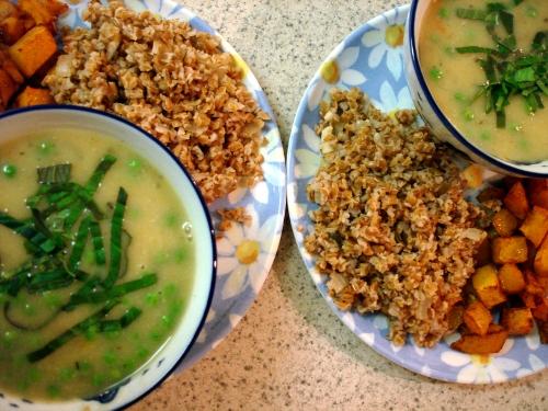 potato and leek (or onion) soup, bulgur, and roasted butternut squash