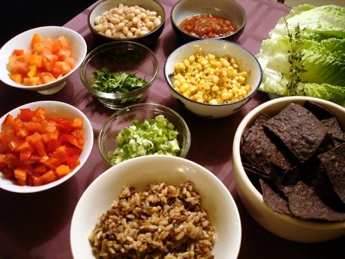 wild rice lettuce wraps - the spread