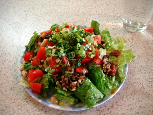 wild rice lettuce wrap in salad form with baja lime marinade and salsa