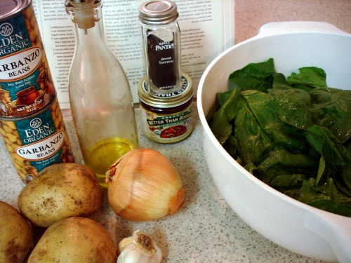bouillabaisse of spinach, potato, and chickpeas - ingredients