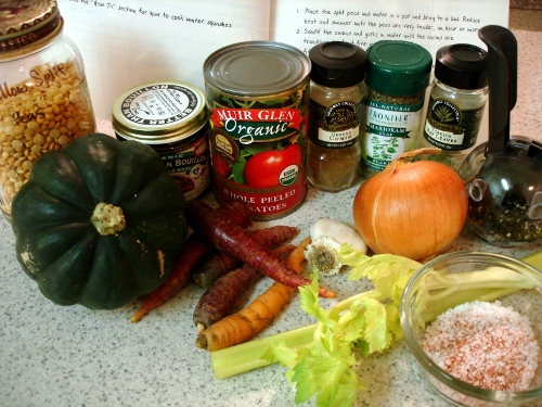 yellow split-pea squash soup - ingredients