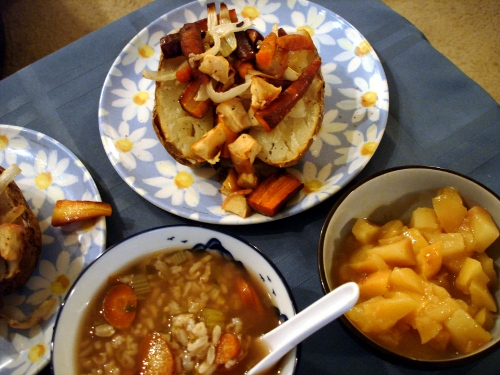 iron-che-style dinner with carrots and apples