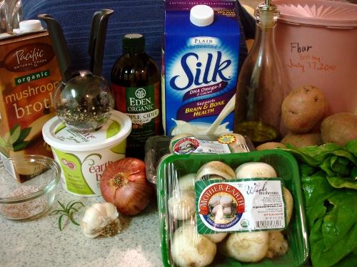 potato & mushroom casserole - ingredients