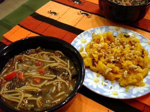 mushroom noodles soup & delicata squash