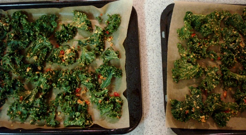 kale chips - before bake