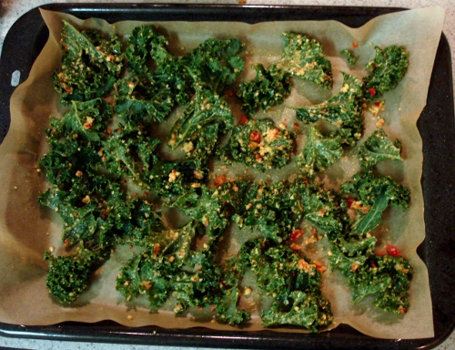 kale chips - before bake - 2